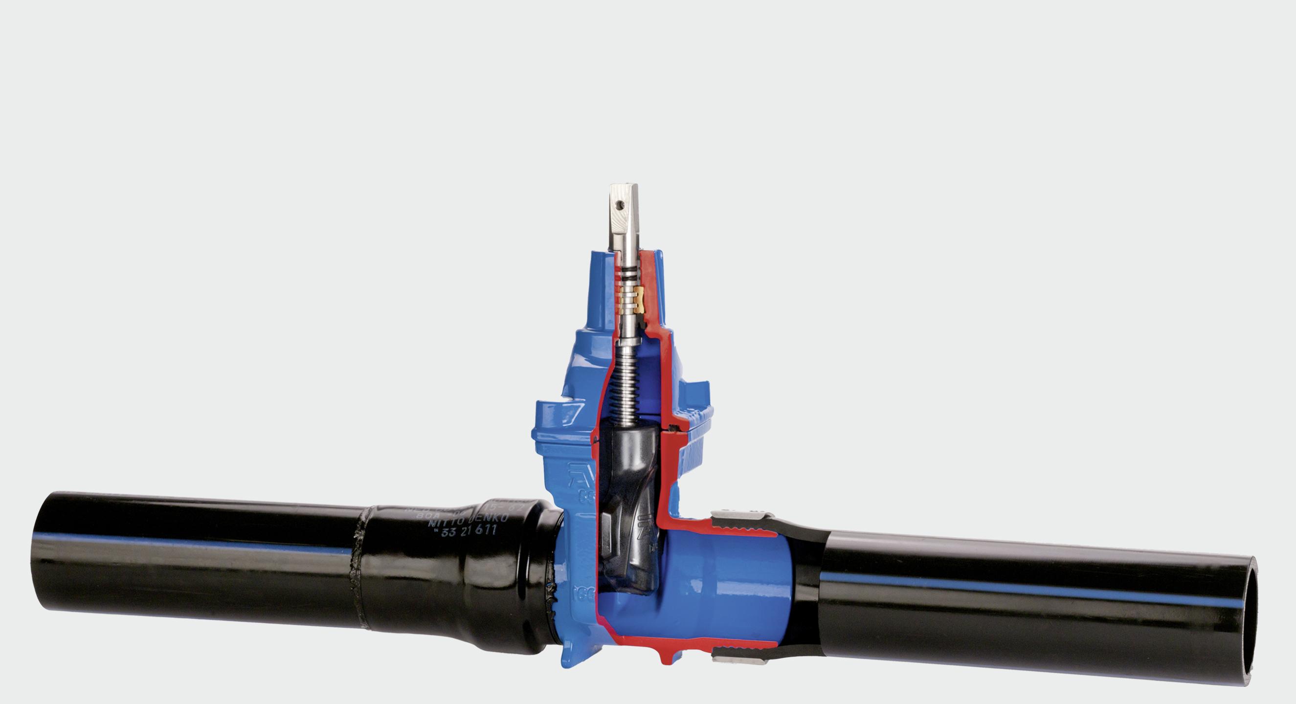 Skydeventiler med PE-ender for et fuldsvejs rørsystem