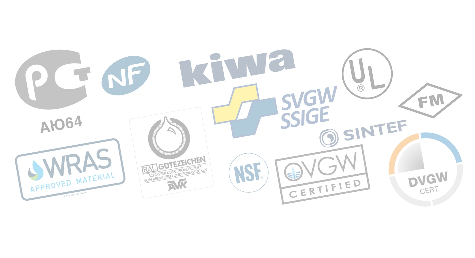 Logoer fra tredjepartsgodkendelser af AVK-produkter