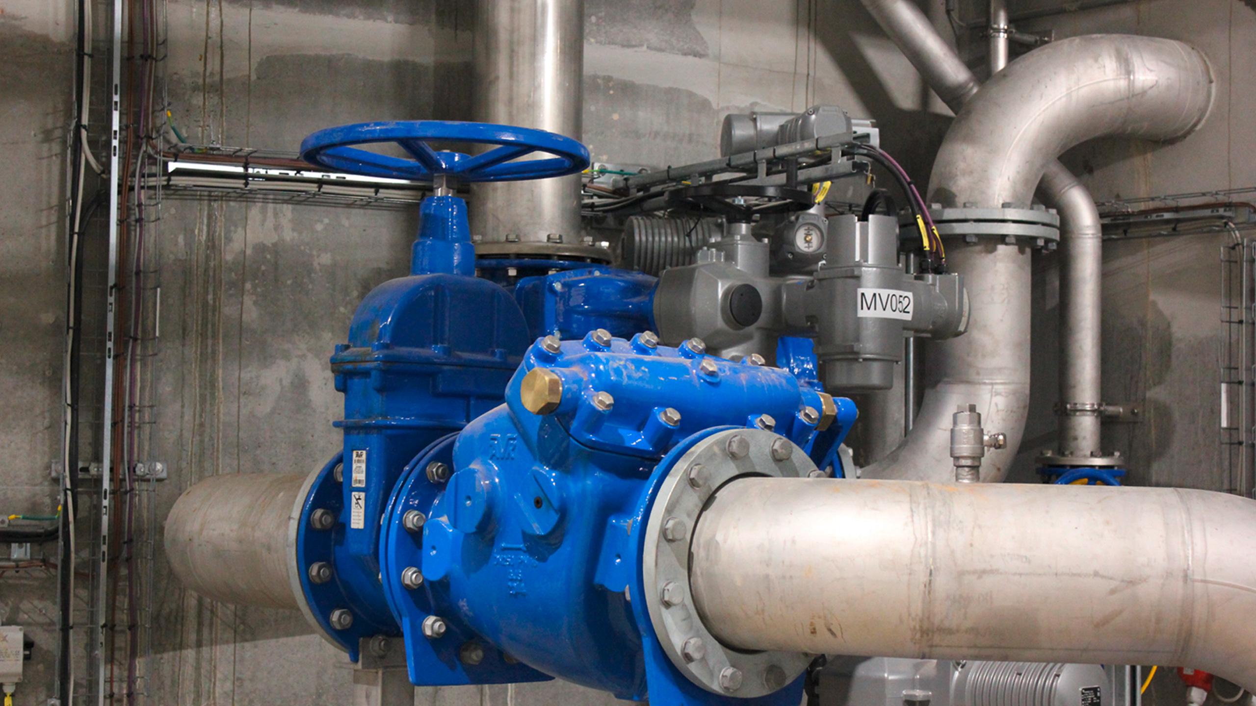 AVK-ventiler i pumpekælderen på Kløvermarken Pumpestation