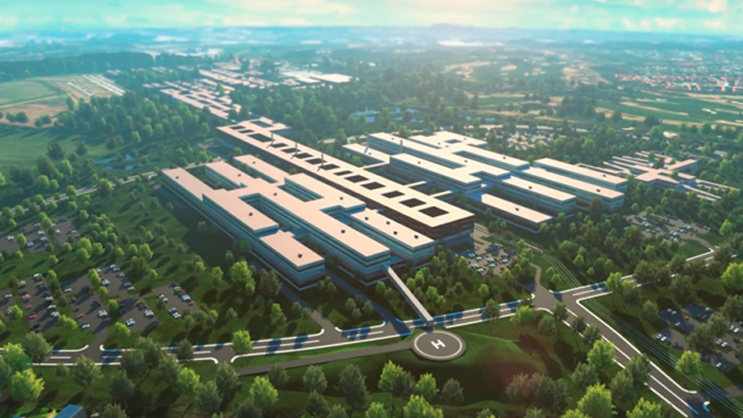 Animeret skitse af Nyt Odense Universitets Hospital set fra oven