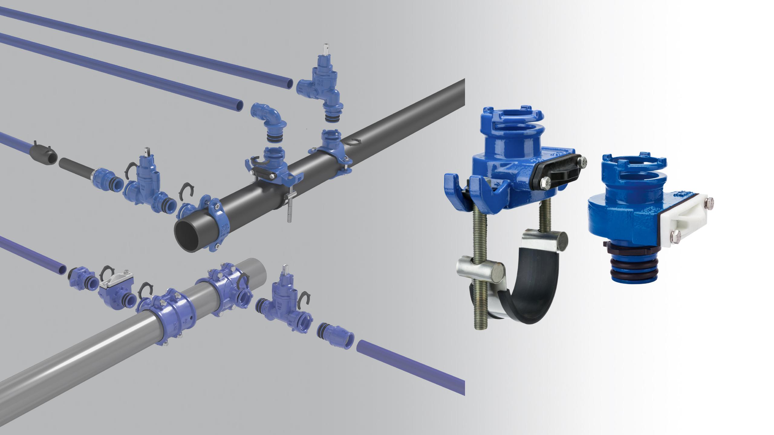 Ny anboringsbøjle og nyt anboringshoved i det gevindløse Supa Lock™ stikledningssystem