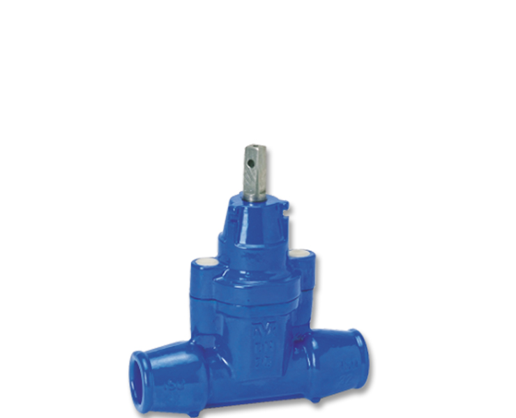 AVK stikledningsventil i duktiljern med trækfaste indstiksmuffer til PE-rør