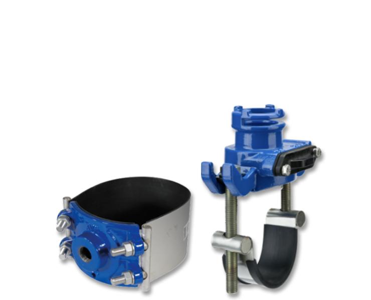Anboringsbøjler til forskellige rørtyper, standard eller til anboring under tryk