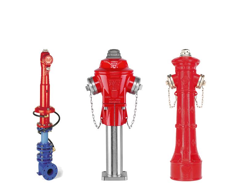 Topbetjente brandhaner og brandhaner til installation under jorden