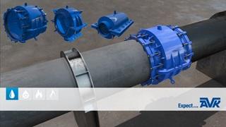 Produkt animation om reparationskoblinger fra Hydro Cos AVK